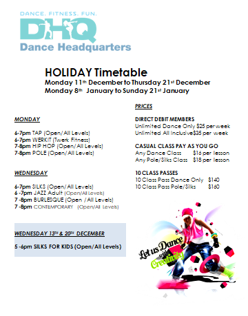 DHQ 2017 - 2018 holiday Time table