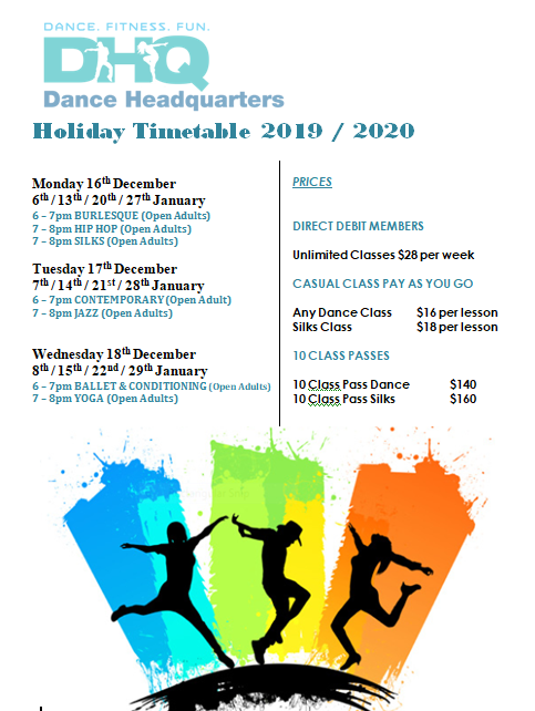 HOLIDAY TIME TABLE DEC  JAN 2019 2020