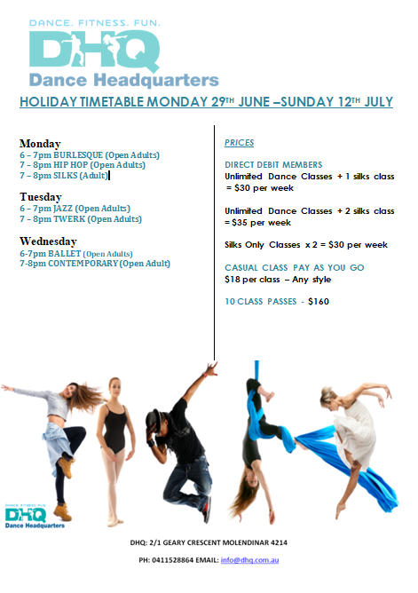 DHQ HOLIDAY TIMETABLE JUNE  JULY