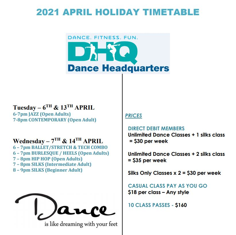 EASTER HOLIDAY TIME TABLE